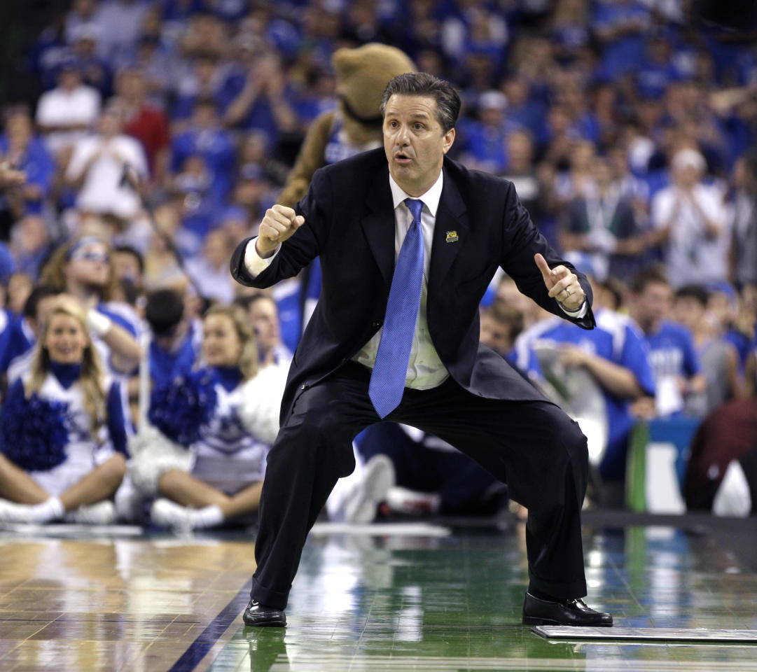Kentucky head coach John Calipari reacts during the second half of the NCAA Final Four tournament college basketball championship game against Kansas, Monday, April 2, 2012, in New Orleans. (AP Photo/Mark Humphrey)