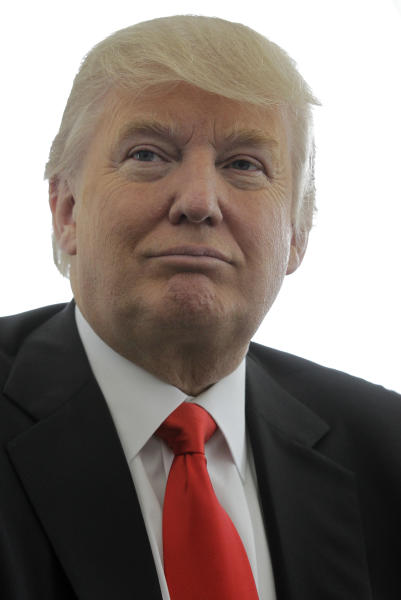 Donald Trump appears during a news conference, Thursday, May 3, 2012, announcing his golf club Trump National in Bedminster, N.J., as the chosen site for the U.S. Women's Open in 2017. (AP Photo/Julio Cortez)