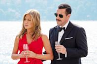 """<p><a class=""""link rapid-noclick-resp"""" href=""""https://www.popsugar.com/Jennifer-Aniston"""" rel=""""nofollow noopener"""" target=""""_blank"""" data-ylk=""""slk:Jennifer Aniston"""">Jennifer Aniston</a> and <a class=""""link rapid-noclick-resp"""" href=""""https://www.popsugar.com/Adam-Sandler"""" rel=""""nofollow noopener"""" target=""""_blank"""" data-ylk=""""slk:Adam Sandler"""">Adam Sandler</a> team up to play a <a href=""""https://www.popsugar.com/entertainment/Netflix-Murder-Mystery-Trailer-46077323"""" class=""""link rapid-noclick-resp"""" rel=""""nofollow noopener"""" target=""""_blank"""" data-ylk=""""slk:bored husband and wife"""">bored husband and wife</a> who go on a long-awaited trip to Europe, only to have a chance meeting with a handsome stranger on the plane (Luke Evans) that leads the pair to an intimate family gathering on the yacht of aging billionaire Malcolm Quince (Terence Stamp). Though their surroundings are lavish, things soon take a turn when Quince turns up dead and everyone aboard the boat becomes a suspect in his murder.</p>"""