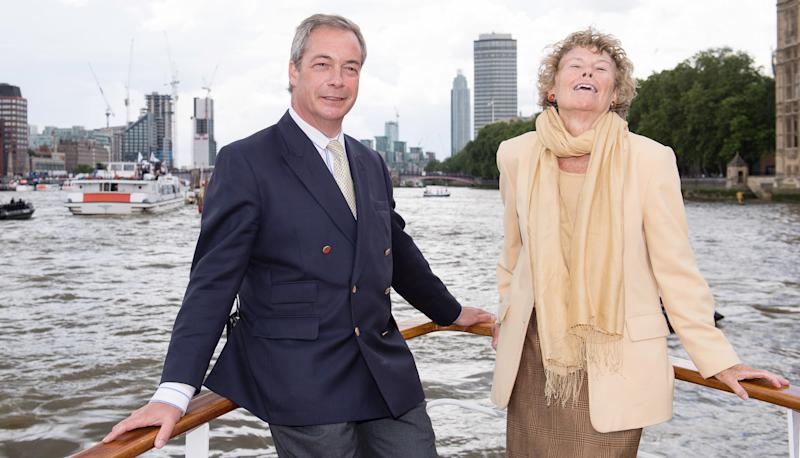 LONDON, ENGLAND - JUNE 15: Nigel Farage, leader of the UK Independence Party, and Kate Hoey show their support for the 'Leave' campaign for the upcoming EU Referendum aboard a boat on the River Thames on June 15, 2016 in London, England. Nigel Farage, leader of UKIP, is campaigning for the United Kingdom to leave the European Union in a referendum being held on June 23, 2016. (Photo by Jeff Spicer/Getty Images)