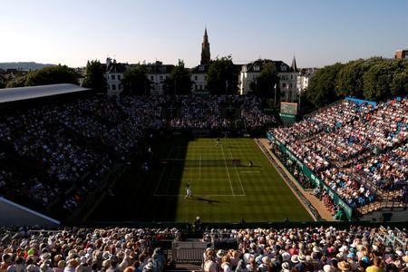 Tennis - WTA Premier & ATP 250 - Nature Valley International - Devonshire Park, Eastbourne, Britain - June 25, 2018 General view of the first round match between Britain's Andy Murray and Switzerland's Stan Wawrinka Action Images via Reuters/Paul Childs