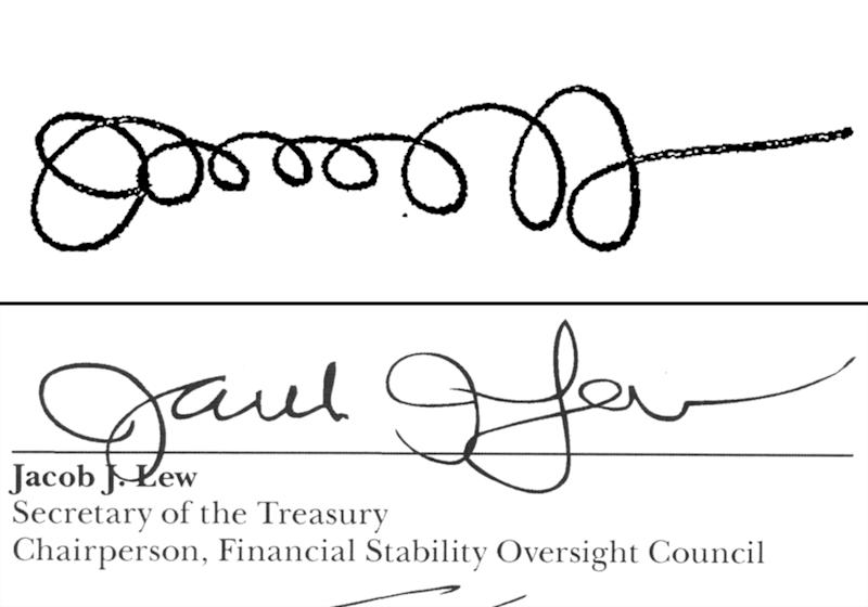 Treasury secretary working on penmanship