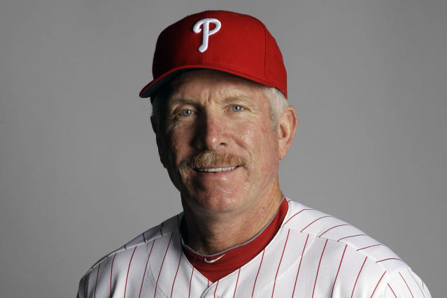 "FILE - This March 1, 2012, file photo shows Mike Schmidt of the Philadelphia Phillies baseball team. ""If you're looking to expose individuals in baseball's history who promoted racism by continuing to close baseball's doors to men of color, Kenesaw Landis would be a candidate,"" three-time NL MVP Mike Schmidt of Philadelphia said. (AP Photo/Matt Slocum, File)"