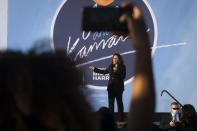 Democratic vice presidential candidate Sen. Kamala Harris, D-Calif., speaks during a campaign event at Morehouse College, Friday, Oct. 23, 2020, in Atlanta. (AP Photo/John Amis)
