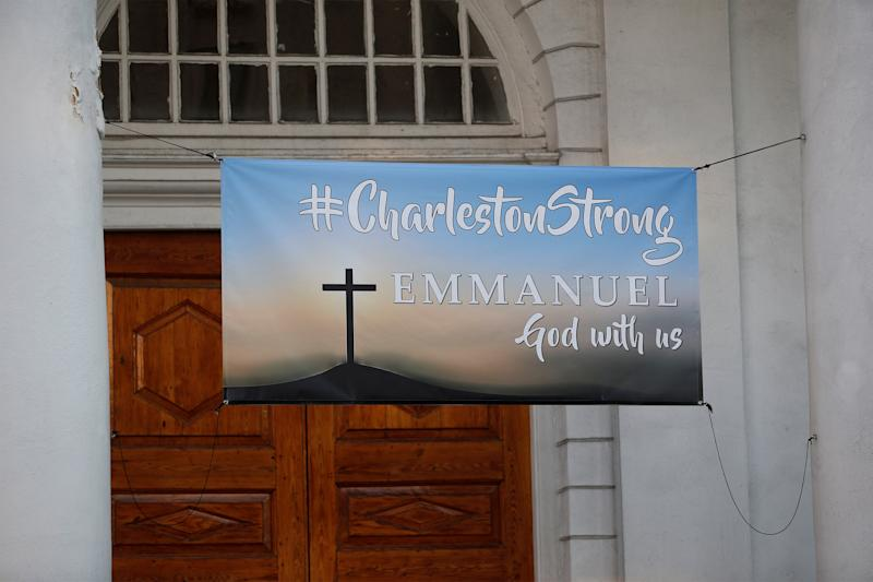 A Charleston Strong banner hangs from a church across from the Charleston Federal Courthouse during the federal trial of Dylann Roof who was found guilty of 33 counts including hate crimes in Charleston