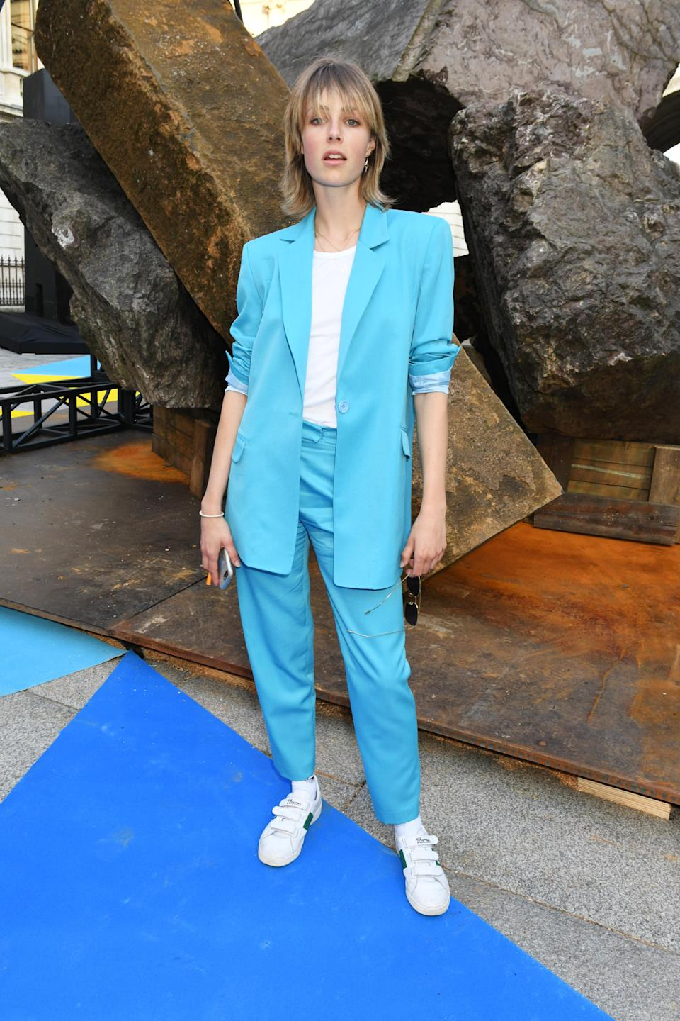 <p>On June 6, model Edie Campbell rocked a pastel-hued co-ord for the Royal Academy of Arts summer exhibition party. <em>[Photo: Getty]</em> </p>