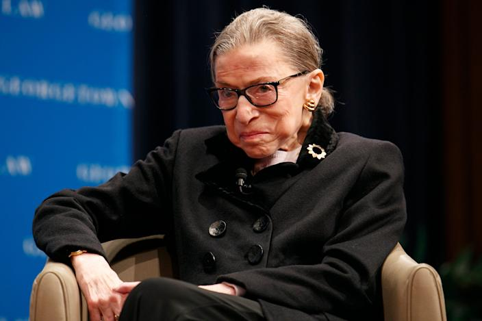 Supreme Court Justice Ruth Bader Ginsberg attends a panel with former President Bill Clinton and former Secretary of State Hillary Clinton, Wednesday, Oct. 30, 2019, at Georgetown Law's second annual Ruth Bader Ginsburg Lecture, in Washington. (AP Photo/Jacquelyn Martin)