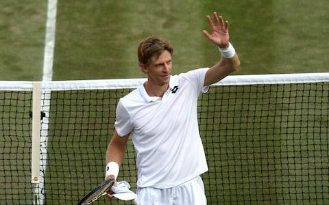 Kevin Anderson of South Africa celebrates winning his Men's Singles fourth round match against Gael Monfils of France on day seven of the Wimbledon Lawn Tennis Championships at All England Lawn Tennis and Croquet Club on July 9, 2018 in London, England.  - Credit: Getty Images