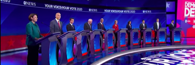 Democratic Presidential debate candidates lined up onstage