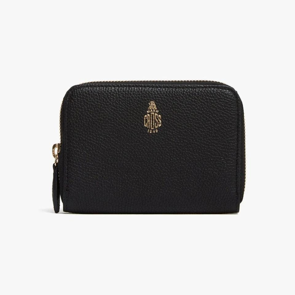 """$520, MARK CROSS. <a href=""""https://www.markcross.com/collections/womens-wallets/products/small-leather-zip-wallet-tumbled-grain-black?variant=29970497863789"""" rel=""""nofollow noopener"""" target=""""_blank"""" data-ylk=""""slk:Get it now!"""" class=""""link rapid-noclick-resp"""">Get it now!</a>"""