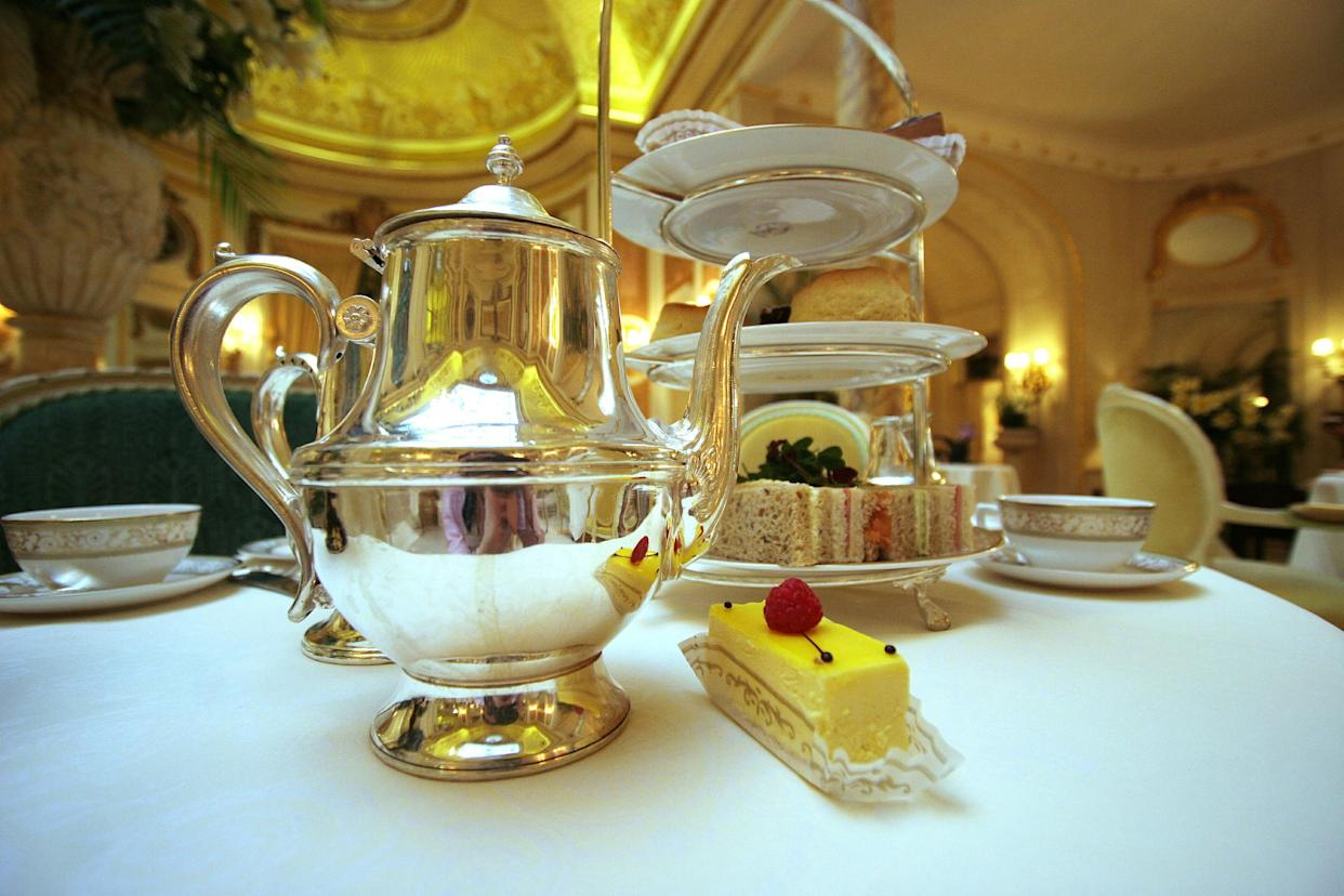 - PHOTO TAKEN 17APR06 - Afternoon tea is seen at the Palm Court at The Ritz hotel in London during its 100th anniversary year, April 17, 2006. Guests can choose from 17 types of tea to go with a plethora of sandwiches, cakes and pastries prepared each day in the hotel's kitchen. Much of the silver-plated tea service from the original set used in 1906, and is polished every day to maintain its shine. Picture taken April 17, 2006.