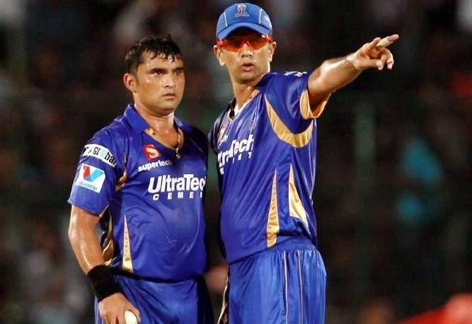 Pravin Tambe (left) and Rahul Dravid (right)