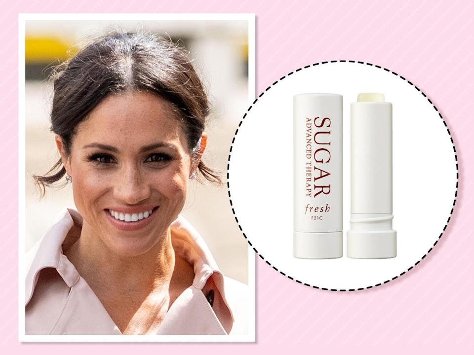"<p>""I have searched high and low and tried every kind of lip balm, but this is the very best. Soft, kissable, buttery lips. I swear by it,"" she <a href=""https://beautybanter.com/banter-babe-meghan-markle"" rel=""nofollow noopener"" target=""_blank"" data-ylk=""slk:told Beauty Banter"" class=""link rapid-noclick-resp"">told Beauty Banter</a>. (Photo: Getty Images)<br><strong><a href=""https://fave.co/2zOz4LC"" rel=""nofollow noopener"" target=""_blank"" data-ylk=""slk:Shop it"" class=""link rapid-noclick-resp"">Shop it</a>:</strong> $26, <a href=""https://fave.co/2zOz4LC"" rel=""nofollow noopener"" target=""_blank"" data-ylk=""slk:sephora.com"" class=""link rapid-noclick-resp"">sephora.com</a> </p>"