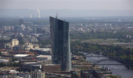 "The construction site of the new headquarters of the European Central Bank (ECB) is seen from the observation deck of the ""Maintower"" in Frankfurt"