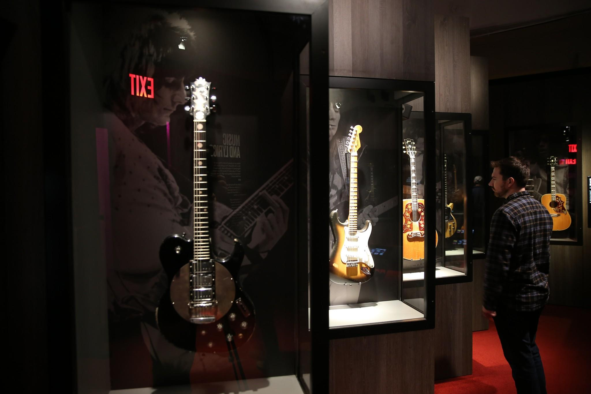 The guitar gallery brings together examples of some of Keith, Ronnie and Mick's prized instruments. (Gordon Donovan/Yahoo News)