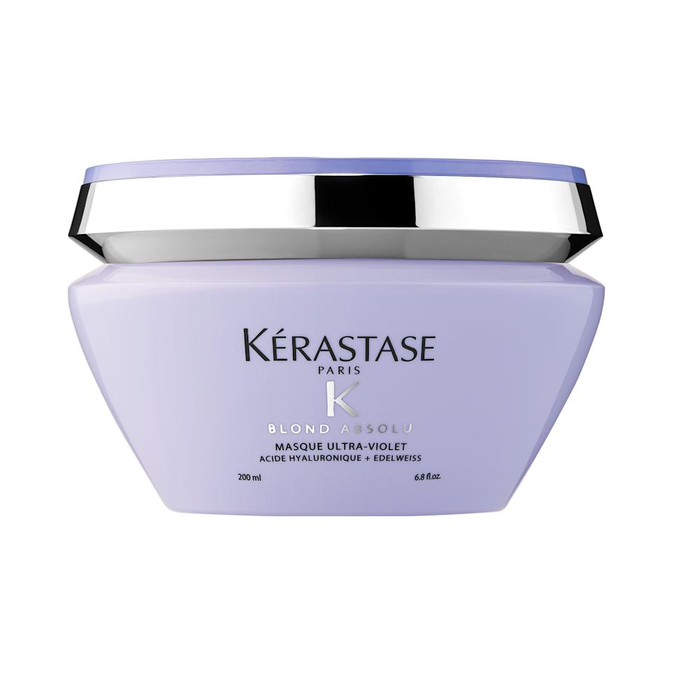 """<p>Not only does this <a href=""""https://www.popsugar.com/buy/K%C3%A9rastase-Blond-Absolu-Anti-Brass-Purple-Mask-553869?p_name=K%C3%A9rastase%20Blond%20Absolu%20Anti-Brass%20Purple%20Mask&retailer=sephora.com&pid=553869&price=62&evar1=bella%3Aus&evar9=47279162&evar98=https%3A%2F%2Fwww.popsugar.com%2Fbeauty%2Fphoto-gallery%2F47279162%2Fimage%2F47279164%2FK%C3%A9rastase-Blond-Absolu-Anti-Brass-Purple-Mask&list1=shopping%2Csephora%2Chair%20color&prop13=api&pdata=1"""" rel=""""nofollow"""" data-shoppable-link=""""1"""" target=""""_blank"""" class=""""ga-track"""" data-ga-category=""""Related"""" data-ga-label=""""https://www.sephora.com/product/blond-absolu-anti-brass-purple-mask-P441844?icid2=products%20grid:p441844:product"""" data-ga-action=""""In-Line Links"""">Kérastase Blond Absolu Anti-Brass Purple Mask</a> ($62) neutralize overly yellow undertones with its ultraviolet hue, but it also helps hair get stronger and stay strong with hyaluronic acid, which resurfaces fibers that may have been damaged during the color process.</p>"""