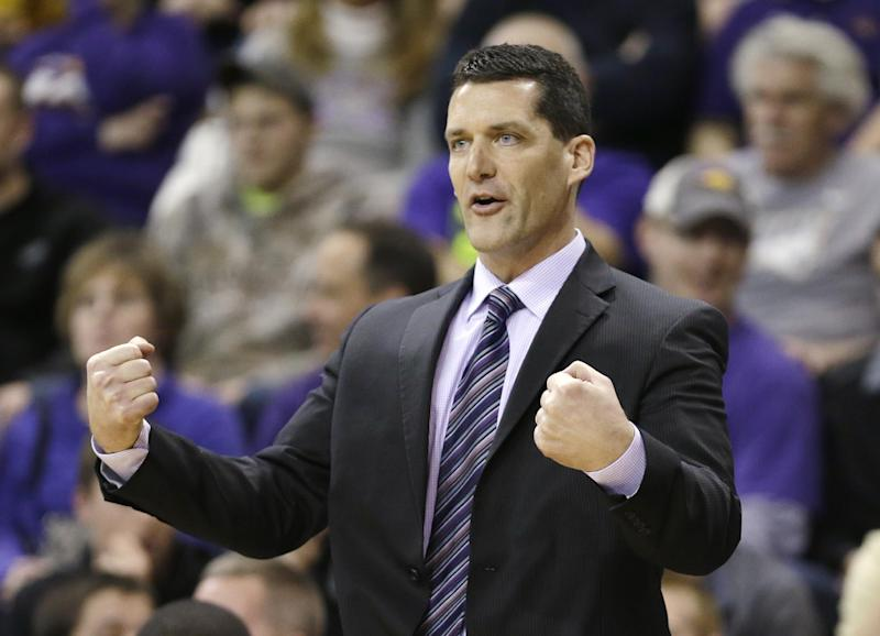 Northern Iowa head coach Ben Jacobson reacts to a call during the first half of an NCAA college basketball game against Wichita State, Saturday, Feb. 8, 2014, in Cedar Falls, Iowa. (AP Photo/Charlie Neibergall)