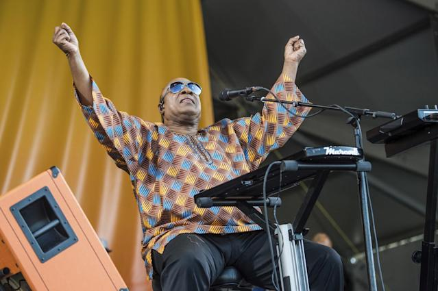 Stevie Wonder performs at the New Orleans Jazz and Heritage Festival on Saturday, May 6, 2017, in New Orleans. (Photo by Amy Harris/Invision/AP)