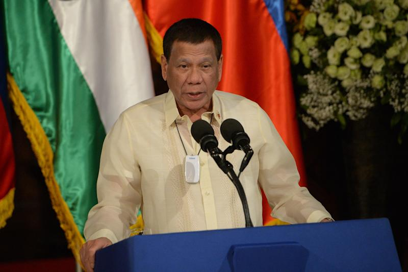 Philippine President Rodrigo Duterte speaks duting a joint press conference with his Indian counterpart Ram Nath Kovind (not pictured) at Malacanang Palace in Manila on October 18, 2019. (Photo: TED ALJIBE/AFP via Getty Images)