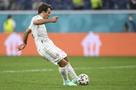 Spain's Mikel Oyarzabal scores the decisive goal in the penalty shootout, during the Euro 2020 soccer championship quarterfinal match between Switzerland and Spain, at the Saint Petersburg stadium in Saint Petersburg, Friday, July 2, 2021. (Kirill Kudryavtsev, Pool via AP)