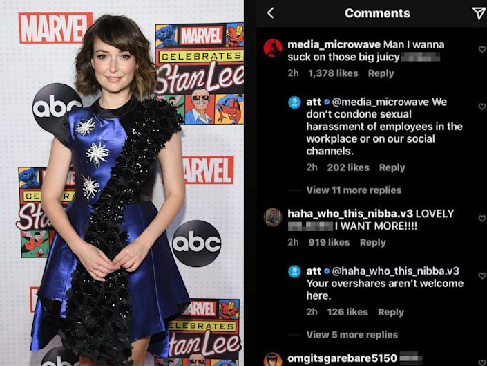 "AT&T eventually turned off the comments on an Instagram post featuring Vayntrub after hundreds of commenters made objectifying remarks and harassed the actress. <p class=""copyright"">Lorenzo Bevilaqua/Getty Images/@megatronraid/Twitter</p>"