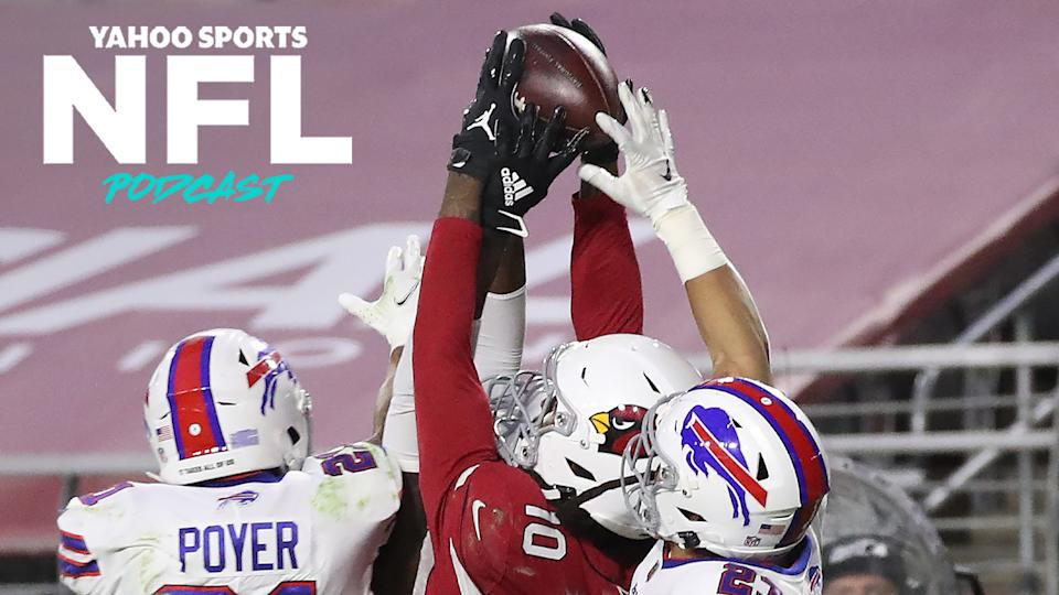 DeAndre Hopkins of the Arizona Cardinals secures the ball in the game-winning touchdown pass against Jordan Poyer and the Buffalo Bills. (Photo by Christian Petersen/Getty Images)