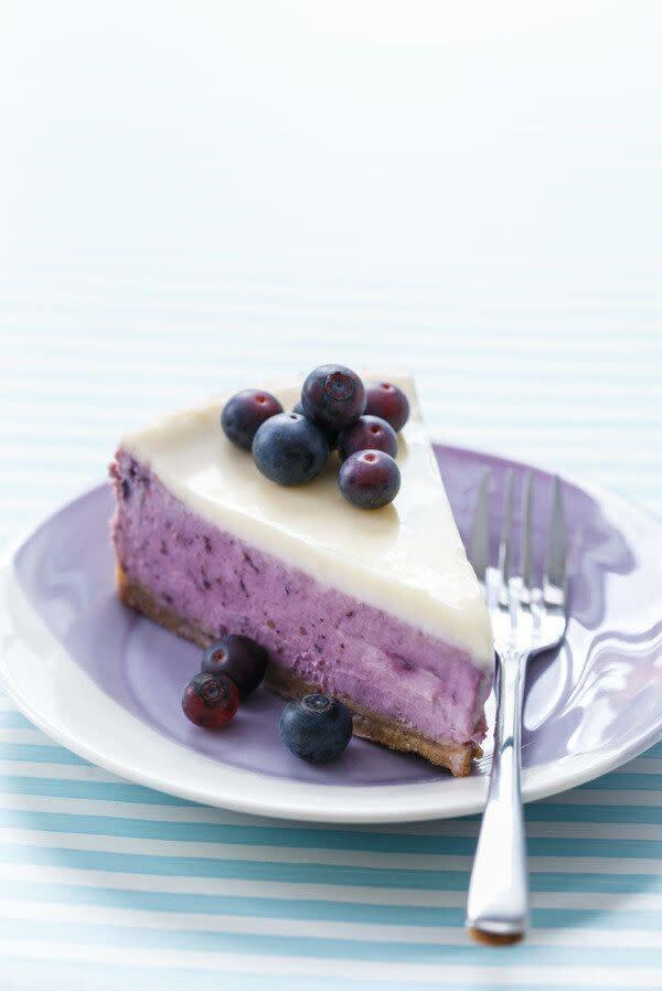 "<a href=""https://www.loveandoliveoil.com/2015/08/blueberry-creme-fraiche-cheesecake.html"" rel=""nofollow noopener"" target=""_blank"" data-ylk=""slk:Get the Blueberry Creme Fraiche Cheesecake recipe from Love and Olive Oil"" class=""link rapid-noclick-resp""><strong>Get the Blueberry Creme Fraiche Cheesecake recipe from Love and Olive Oil</strong></a>"
