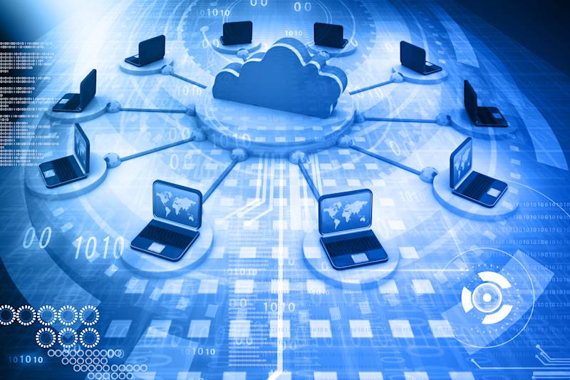An illustrated cloud surrounded by computers, signifying a data center.
