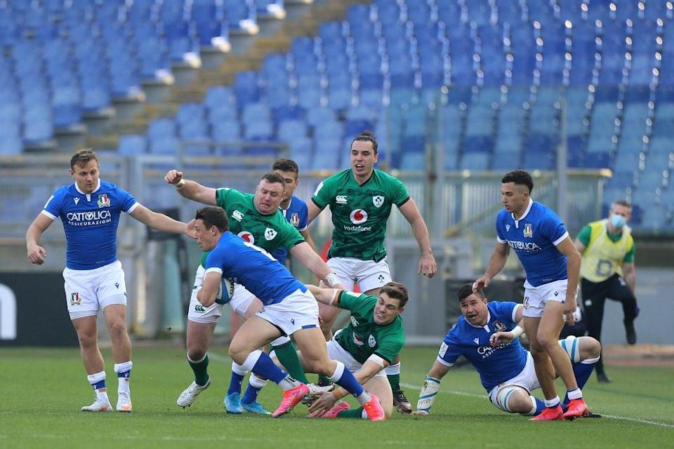 <p>Paolo Garbisi looks to break through during the Six Nations match between Italy and Ireland</p> (Getty)