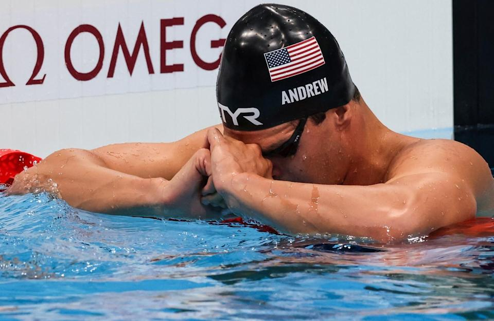 U.S. swimmer Michael Andrew pauses after finishing fifth in the 200-meter individual medley on Friday.