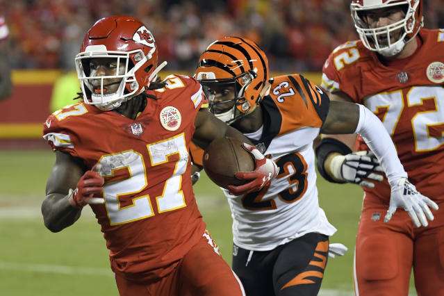 A video of Kansas City Chiefs running back Kareem Hunt (27) shoving and kicking a woman was released by TMZ on Friday. (AP)