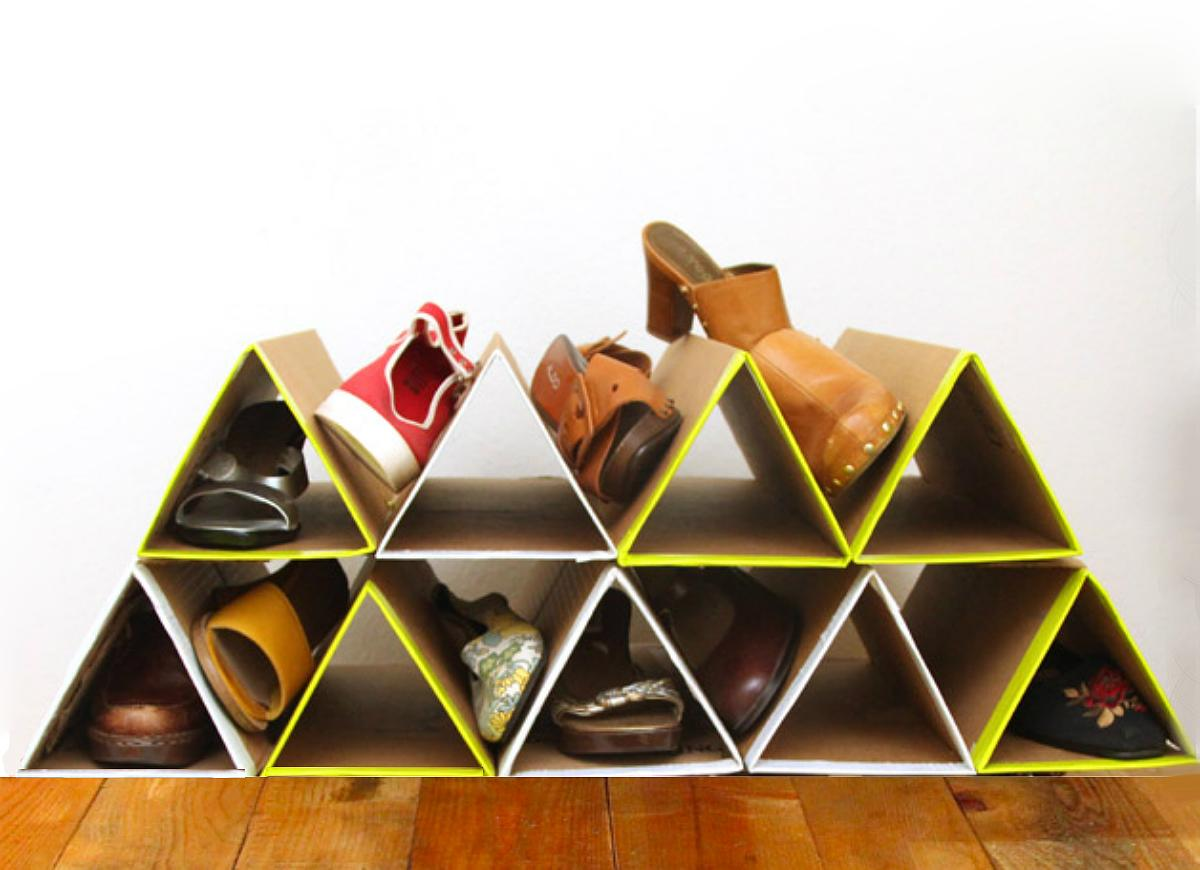 """<body> <p>If your current shoe storage solution is all tied up in knots, gather cardboard shipping boxes and try this zero-dollar geometric <a rel=""""nofollow"""" href="""" http://www.bobvila.com/slideshow/8-smart-shoe-racks-you-can-make-today-47949?bv=yahoo"""" title=""""diy shoe racks"""" target=""""_blank"""">shoe rack</a> on for size. Fold flattened boxes into triangular tubes, then stack and glue them into alternating rows to give your sandals and sneakers a luxury footrest.</p>  <p><strong>Related:<a rel=""""nofollow"""" href="""" http://www.bobvila.com/slideshow/11-smart-ways-to-organize-your-winter-footwear-46737?bv=yahoo"""" title=""""http://www.bobvila.com/slideshow/11-smart-ways-to-organize-your-winter-footwear-46737"""" target=""""_blank"""">11 Smart Ways to Organize Your Winter Footwear</a> </strong> </p> </body>"""