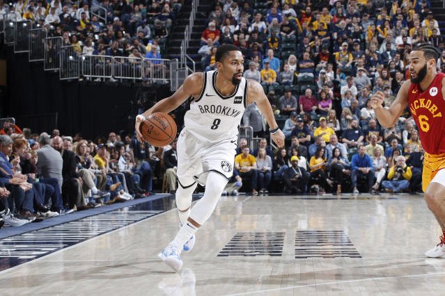 """<a class=""""link rapid-noclick-resp"""" href=""""/nba/players/5349/"""" data-ylk=""""slk:Spencer Dinwiddie"""">Spencer Dinwiddie</a> wanted to become the first professional athlete to turn his contract into a digital investment. (Joe Robbins/Getty Images)"""
