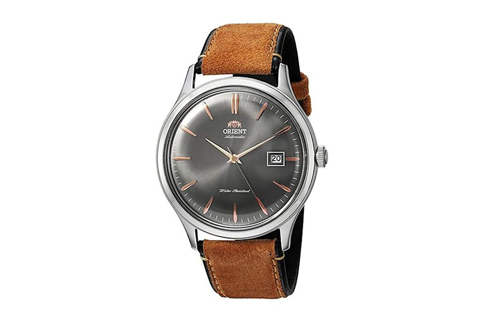 "$123, Amazon. <a href=""https://www.amazon.com/Orient-Bambino-Japanese-Automatic-Stainless/dp/B01N5RFHLF/"" rel=""nofollow noopener"" target=""_blank"" data-ylk=""slk:Get it now!"" class=""link rapid-noclick-resp"">Get it now!</a>"