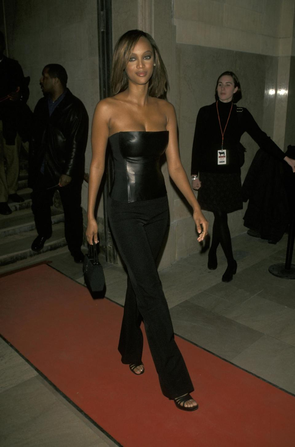 Photo ofTyra Banks in an all black outfit in New York
