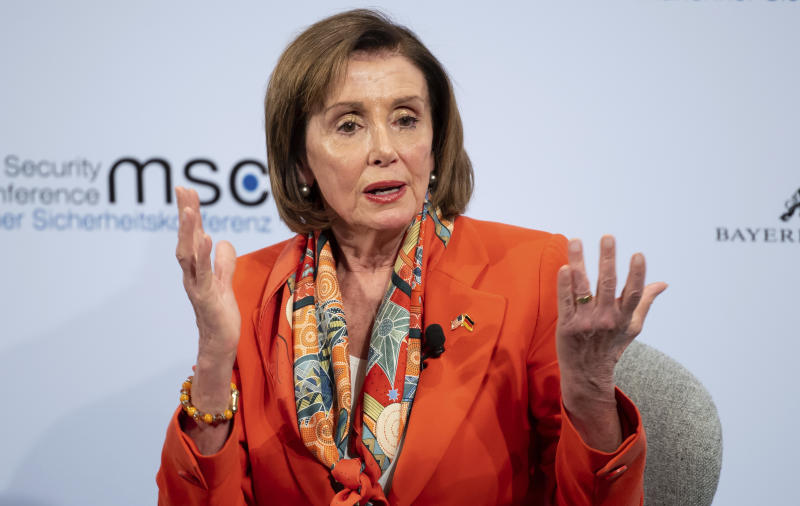 Nancy Pelosi, Speaker of the US House of Representatives, speaks on the first day of the 56th Munich Security Conference in Munich, Germany, Friday, Feb.14, 2020.  (Sven Hoppe/dpa via AP)