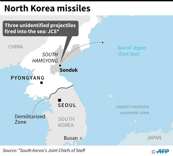 Map showing Sondok area in North Korea's South Hamgyong province from where three unidentified projectiles were fired into the sea on Monday (AFP Photo/)
