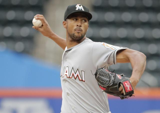 Miami Marlins' Sandy Alcantara delivers a pitch during the first inning in the first baseball game of a doubleheader against the New York Mets, Thursday, Sept. 13, 2018, in New York. (AP Photo/Frank Franklin II)