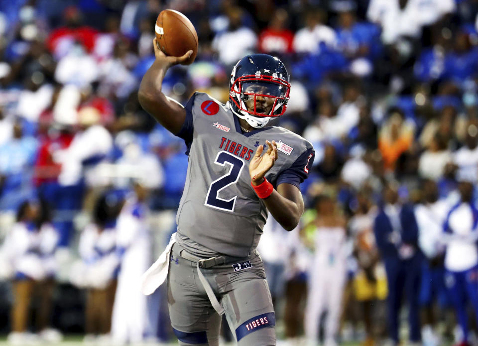 Jackson State quarterback Shedeur Sanders throws a pass against Tennessee State during the Southern Heritage Classic NCAA college football game in Memphis, Tenn., Saturday, Sept. 11, 2021. (Patrick Lantrip/Daily Memphian via AP)