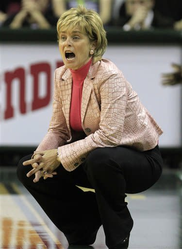 Baylor coach Kim Mulkey yells from the sideline during the first half of an NCAA college basketball game against Liberty on Friday, Nov. 23, 2012, in Waco, Texas. (AP Photo/LM Otero)