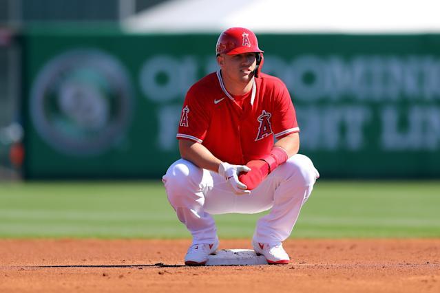 "<a class=""link rapid-noclick-resp"" href=""/mlb/players/8861/"" data-ylk=""slk:Mike Trout"">Mike Trout</a> and his wife are expecting their first child this summer, which means he could opt out of MLB's shortened season. (Photo by Alex Trautwig/MLB Photos via Getty Images)"