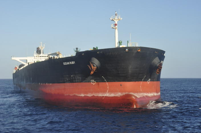 The Ocean Ruby, a giant tanker operated by the affiliate of a company suspected of selling fuel to North Korea in violation of United Nations sanctions, sits anchored in the high seas off the west coast of South America on July 23, 2021. (AP Photo/Joshua Goodman)
