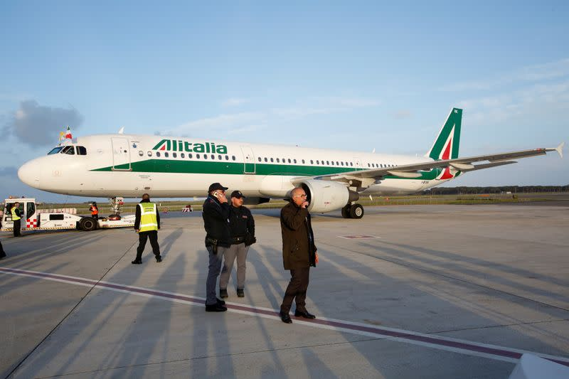 FILE PHOTO: The Alitalia plane carrying Pope Francis is seen at Fiumicino airport in Rome before flying to Sofia, Bulgaria