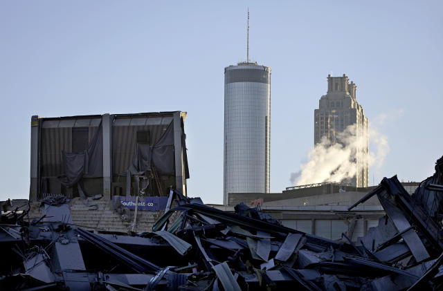 <p>The upper seats of the Georgia Dome remain standing after the stadium was imploded in Atlanta, Monday, Nov. 20, 2017. The dome was not only the former home of the Atlanta Falcons but also the site of two Super Bowls, 1996 Olympics Games events and NCAA basketball tournaments among other major events. (AP Photo/David Goldman) </p>