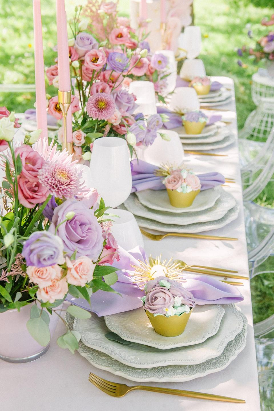 <p>Pastels are the perfect shade to use for a whimsical bridal shower. The light colors are effortlessly classy and chic, and they pair well with any event any time of the year. Pair pastel table settings with dainty flowers, and this theme will come to life in no time.</p>