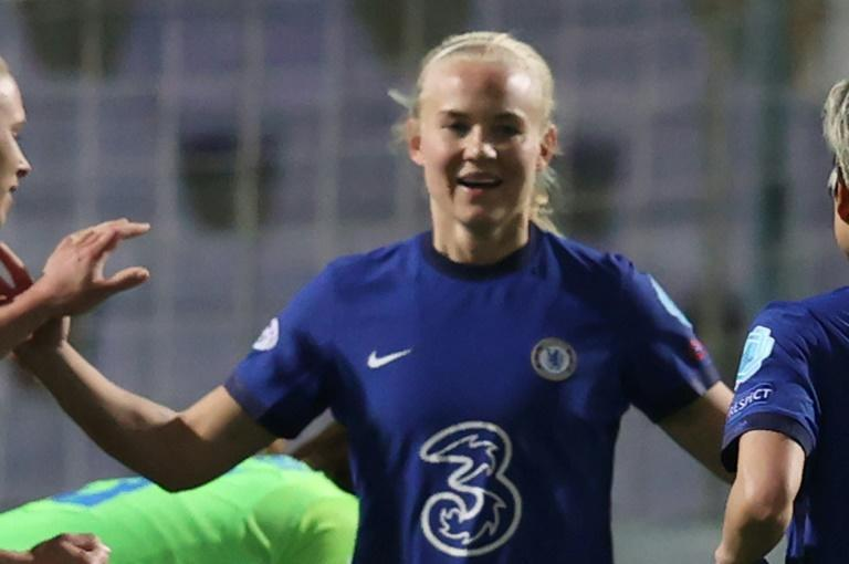 Danish forward Pernille Harder celebrates after scoring Chelsea's second goal against her old side Wolfsburg