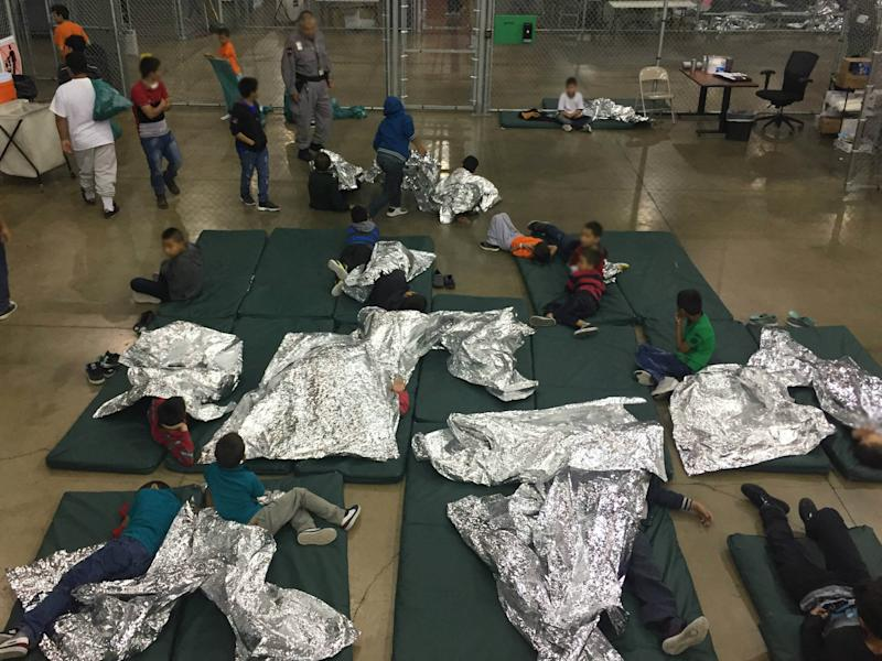 A view of inside US Customs and Border Protection (CBP) detention facility shows children at Rio Grande Valley Centralized Processing Center in Rio Grande City, Texas, on 7 June 2018: CBP/Handout via REUTERS