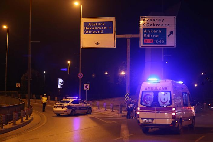 <p>Police blocks the entrance of the Ataturk International Airport after an explosion, in Istanbul, Turkey on June 28, 2016. Unspecified number of injured in explosion at Istanbul's Ataturk International Airport. (Veli Gurgah/Anadolu Agency/Getty Images) </p>