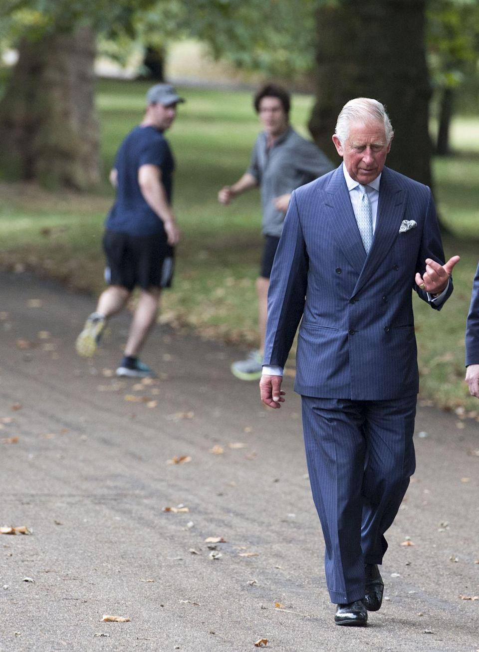 <p>Prince Charles attended a clebration of the creation of The Queen's Meadow in September 2016 wearing a classic double breasted blazer.</p>