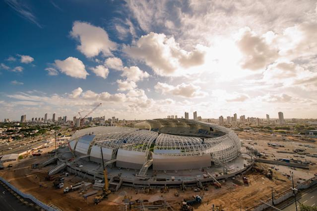 NATAL, BRAZIL - NOVEMBER 14: An aerial view of Estadio das Dunas on November 14, 2013 in Natal, Brazil. (Photo by Buda Mendes/Getty Images)